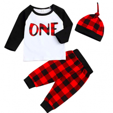 1st Birthday T-Shirt with Plaid Pant and Hat