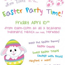 Brookline-Norwood, MA Events for Kids: Easter Party at Jam Time Norwood
