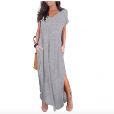 Women's Casual Loose Pocket Long Maxi Dress