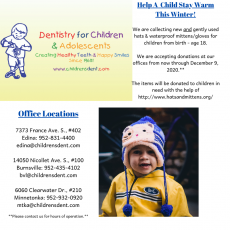 Things to do in Burnsville-Shakopee, MN for Kids: Winter Clothing Drive, Dentistry for Children & Adolescents - 3 Locations