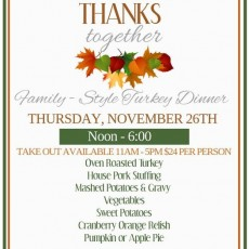 Seven Seas Thanksgiving Dine In or Take Out