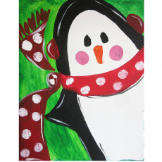 Things to do in Richmond South, VA for Kids: Family Fun Creative Canvas - Penguin with Scarf, Art Factory Play Cafe and Party Place