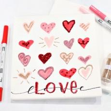 Glittered Hearts Valentine Canvas