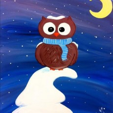 Things to do in Myrtle Beach, SC for Kids: Twist Kids: Baby It's Cold Owlside, Painting with a Twist