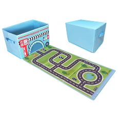 Toy Storage Box with Car Rug Play Mat