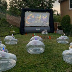 Backyard Projector Movie Birthday Party