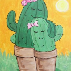 Create a Mom & Me Cactus Painting