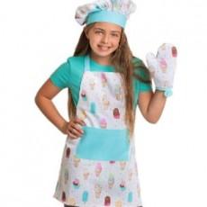 Child's Ice Cream Apron, Mitt & Hat Set