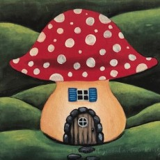 Things to do in Palm Beach Gardens, FL for Kids: Kids Summer Class ~ Mushroom Manor - Pre-sketched (8and up) with Craft, Uptown Paint and Sip