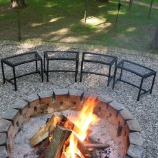 Outdoor Curved Fire Pit Bench (Set of 4)