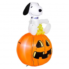 Peanuts Snoopy with Woodstock Sitting On Pumpkin Inflatable