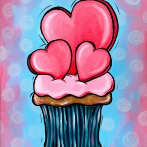 Heart Cupcake Painting