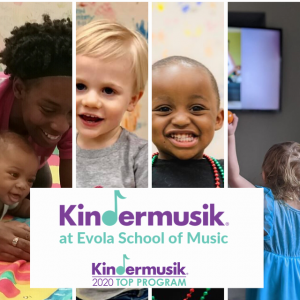 Kindermusik at Evola Music featuring studio and online classes