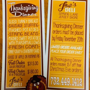 Joe's Deli (Spring Lake, NJ): Thanksgiving Dinner