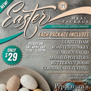 Peppercorns Grille and Tavern: Complete Easter Meal Packages for 2